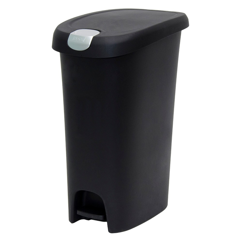 Image of Hefty 12.3 Gallon Slim Step Trash Can with Locking Lid - Black