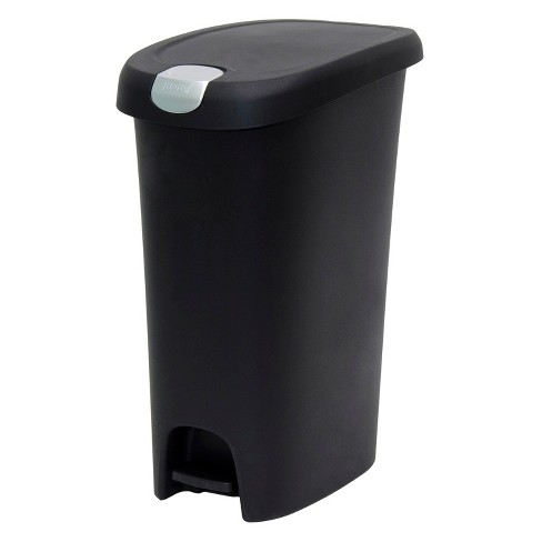 Hefty 12.3 Gallon Slim Step Black Trash Can with Locking Lid - image 1 of 4