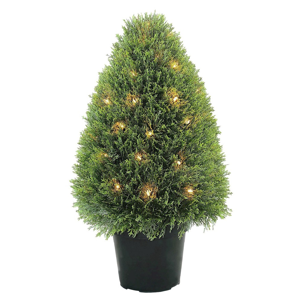 Upright Juniper Tree with Green Round Growers Pot with 50 Clear Lights (30)