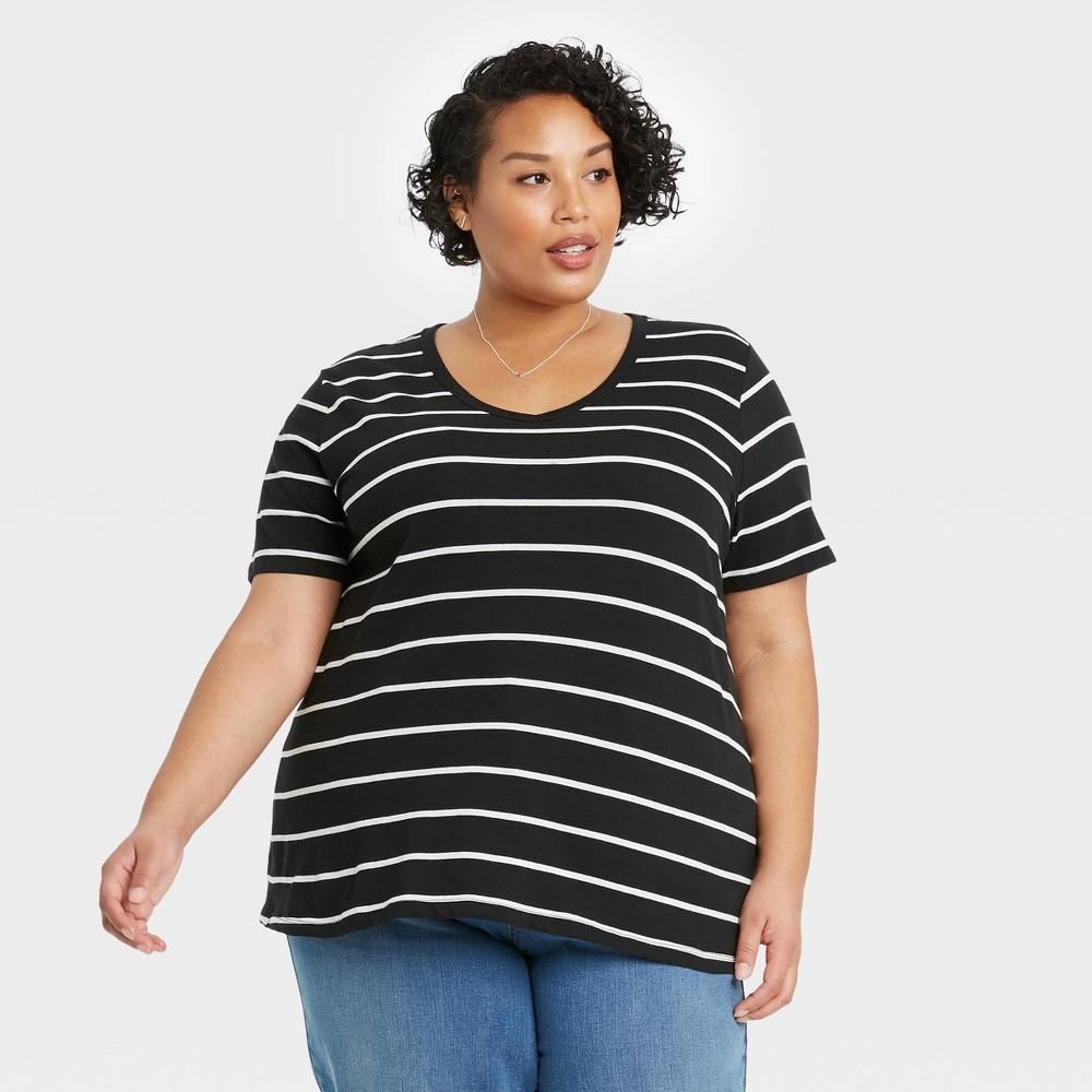Women 39 S Plus Size Short Sleeve V Neck Slim Fit Essential T Shirt Ava 38 Viv 8482 Black 2x