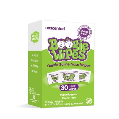 Boogie Wipes Unscented Gentle Saline Nose Wipes - 30ct