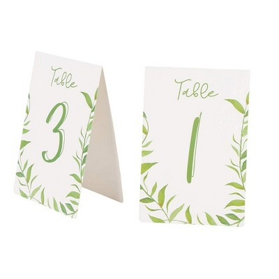 """Juvale Botanical Greenery 1-25 Watercolor Table Number Cards, Double Sided 4""""X6"""" Wedding Party Decorations"""