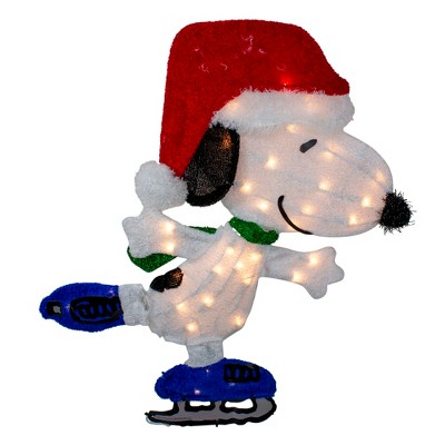 """Northlight 24"""" White and Red Pre-Lit Skating Peanuts Snoopy Outdoor Christmas Decor - Clear Lights"""