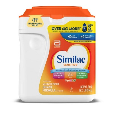 Similac Sensitive For Fussiness and Gas Infant Formula with Iron Powder - (Select Size)