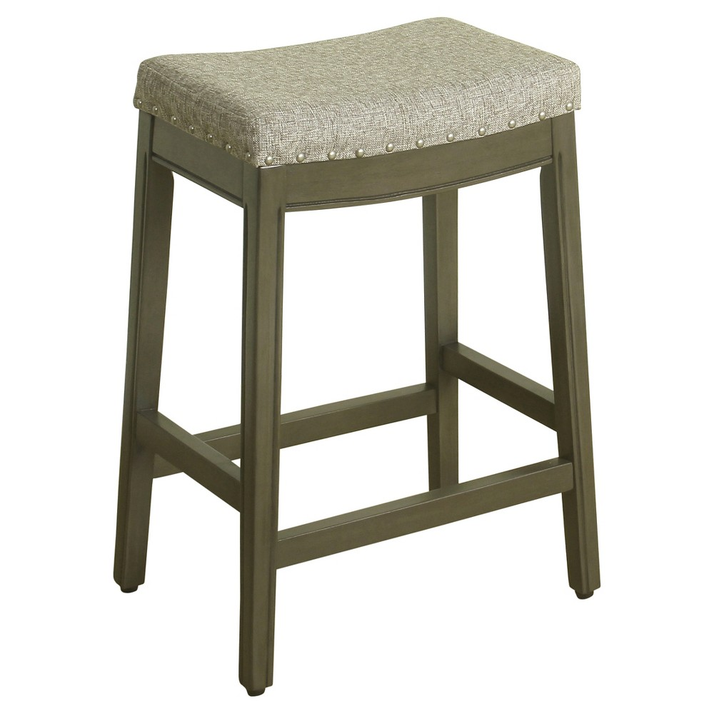 "Image of ""24"""" Blake Backless Counter Stool with Nailheads Pebble Gray - HomePop"""