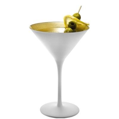 Stolzle Lausitz Olympia White and Gold 8 Ounce Martini Glass, Set of 2
