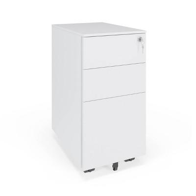 Basyx Slim Mobile Metal Pedestal Filing Cabinet White - HON