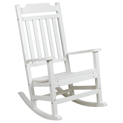 Flash Furniture Winston All-Weather Rocking Chair in Faux Wood
