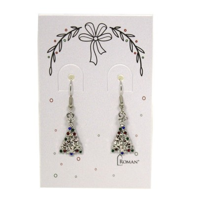 """Jewelry 0.75"""" Christmas Tree Earring Stones Silver Gold  -  Costume Jewelry"""