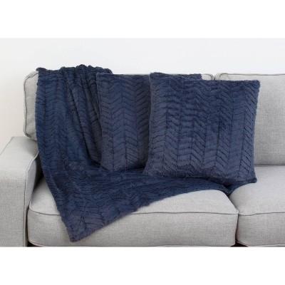 2pk Vintage Indigo Aiden Chevron Pillows & Decorative Throw Set Navy - Décor Therapy
