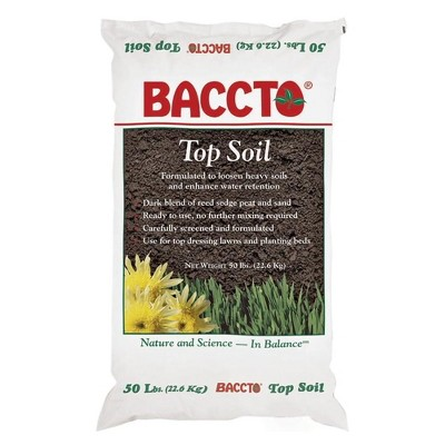 Michigan Peat 1550P Baccto Top Soil for Lawns, Gardens, and Raised Planting Beds with Reed Sedge, Peat, and Sand for Improved Drainage, 50 Pounds