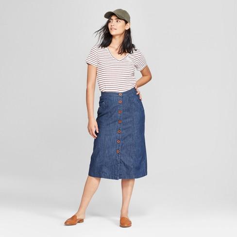 fe974ee3bb2aa Women s Button Front Midi Skirt - Universal Thread™ Medium Wash   Target