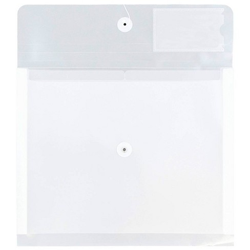 JAM Paper 10 1/2'' X 11 3/4'' X 1 1/2'' 12pk Plastic 2 Divider Envelopes with Button String Tie Closure with Letter Booklet - Clear - image 1 of 4