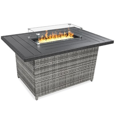 Best Choice Products 52in Wicker Propane Gas Fire Pit Table 50,000 BTU w/ Glass Wind Guard, Tank Holder, Cover