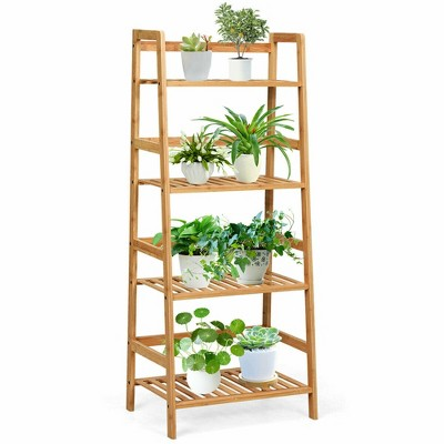 Costway 4-Tier Bamboo Ladder Shelf Multipurpose Plant Display Stand Storage Bookshelf