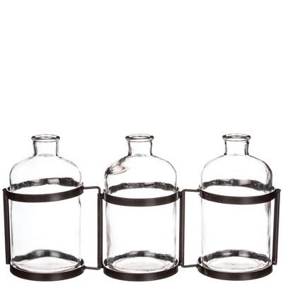 "Sullivans Three Bottle Vase 8""H Green"