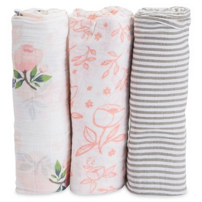 Little Unicorn Cotton Muslin Swaddle 3pk - Watercolor Rose
