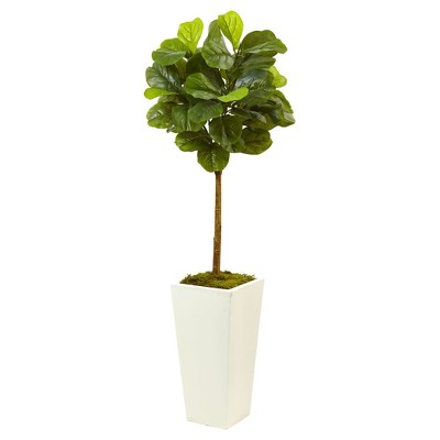 Fiddle Leaf Fig in White Planter (4.5ft)- Nearly Natural