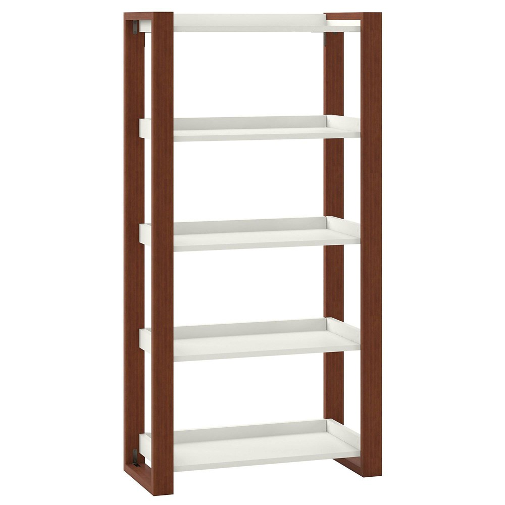 Image of 5 Shelf Etagere Bookcase Cotton White/Serene Cherry - Kathy Ireland Home