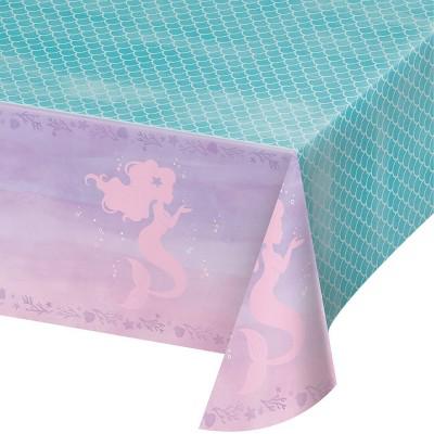 Mermaid Print Plastic Party Tablecloth