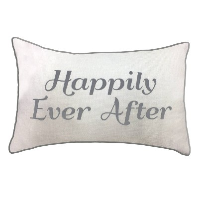 "14""x21"" Celebrations Embroidered ""Happily Ever After"" Lumbar Pillow Cream/Gray - Edie@Home"
