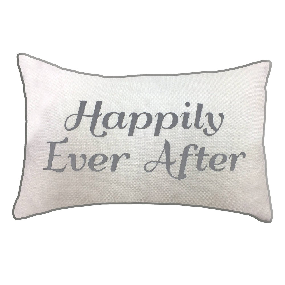 """Image of """"14""""""""x21"""""""" Celebrations Embroidered """"""""Happily Ever After"""""""" Lumbar Pillow Cream/Gray - Edie@Home, White Gray"""""""
