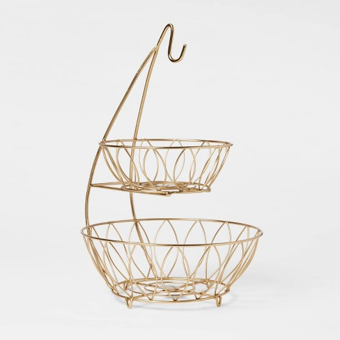 Iron Wire 2-Tier Fruit Basket with Banana Hanger Gold - Threshold™ - image 1 of 3