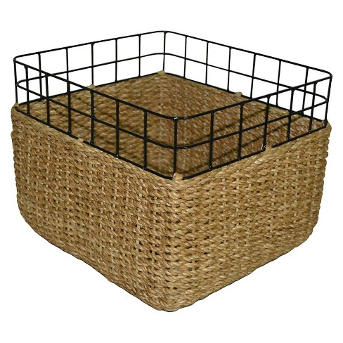 Wicker and Wire Decorative Milkcrate Basket - Large - Threshold™ - image 1 of 1