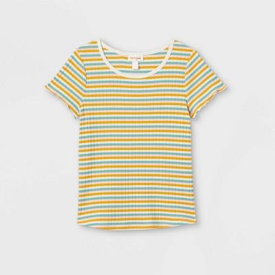 Girls' Rib-Knit Printed Short Sleeve Top - Cat & Jack™