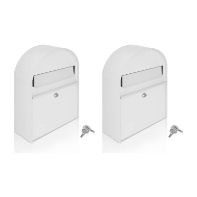 SereneLife SLMAB15 Home Indoor Outdoor Galvanized Steel Metal Wall Mount Secure Locking Mailbox Magazine Newspaper Holder with Keys, White (2 Pack)