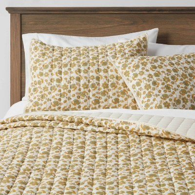 Full/Queen Pick Stitch Floral Quilt Green/Yellow - Threshold™