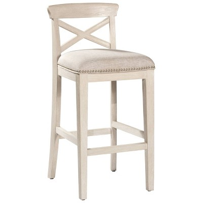 """Set of 2 30"""" Bayview NonSwivel Barstools White /Silver - Hillsdale Furniture"""