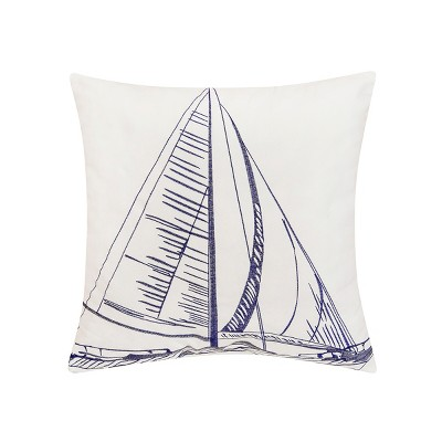 """C&F Home 18"""" x 18"""" Sailboat Indoor / Outdoor Embroidered Pillow"""