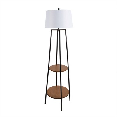 "63"" Tristan Silverwood Floor Lamp with Shelves (Includes LED Light Bulb)Black - Decor Therapy"