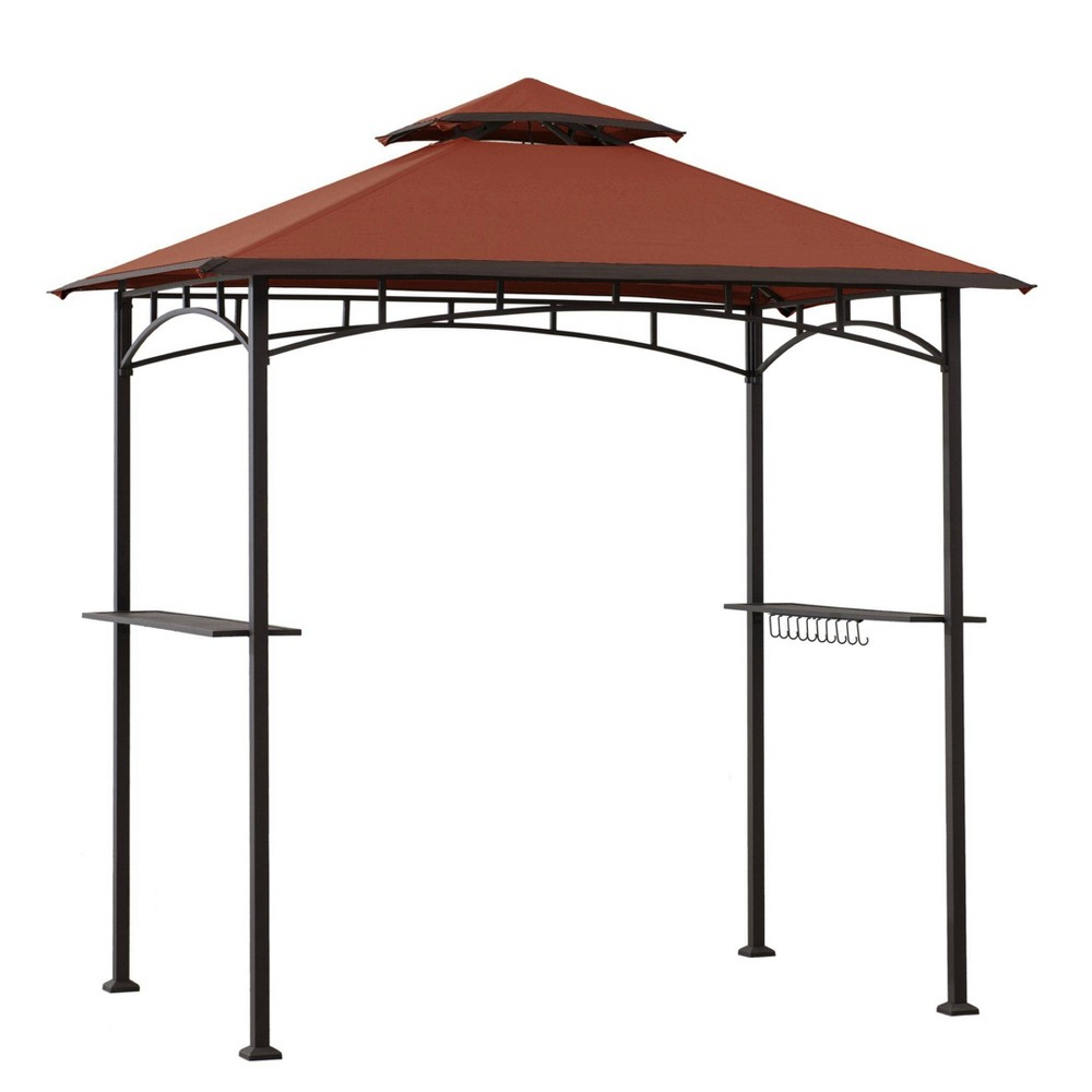 Image of Sunjoy 5' x 8' Black Steel 2-tier Grill Gazebo with Red Canopy