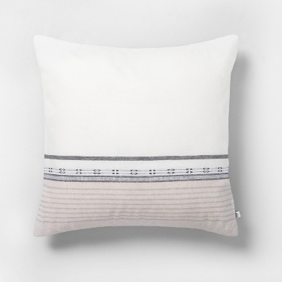 """18"""" x 18"""" Engineered Ombre Border Throw Pillow Sour Cream/Gray - Hearth & Hand™ with Magnolia"""