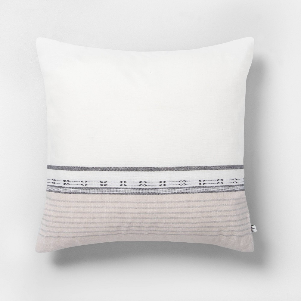 Image of 18x18 Ombre Throw Pillow Stripe Sour Cream / Gray - Hearth & Hand with Magnolia