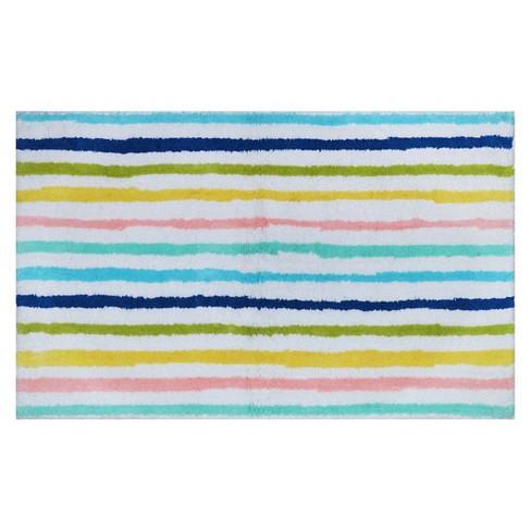 Cool Stripe Bath Rug Molokai Blue - Pillowfort™ - image 1 of 2