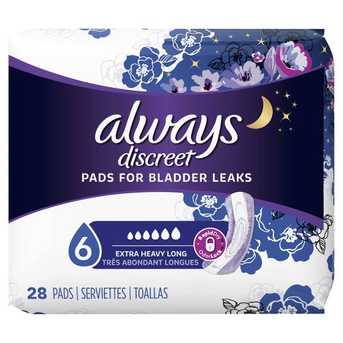 Always Discreet Incontinence Pads for Women - Extra Heavy Absorbency - Long  Length - 28ct