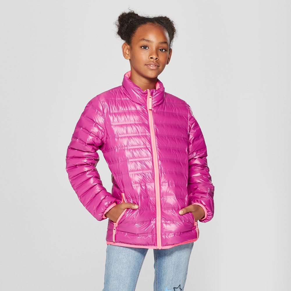 Girls' Down Puffer Jacket - Cat & Jack Purple XL