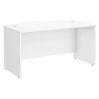 "Wood 60"" x 36"" Bow Front Desk in White- Scranton & Co"