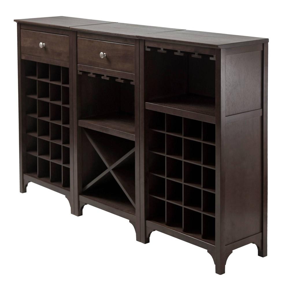 Ancona Wine Cabinet Modular Set Wood/Black - Winsome, Brown