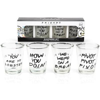Silver Buffalo Friends Quotes 1.5oz Mini Glasses | Set of 4