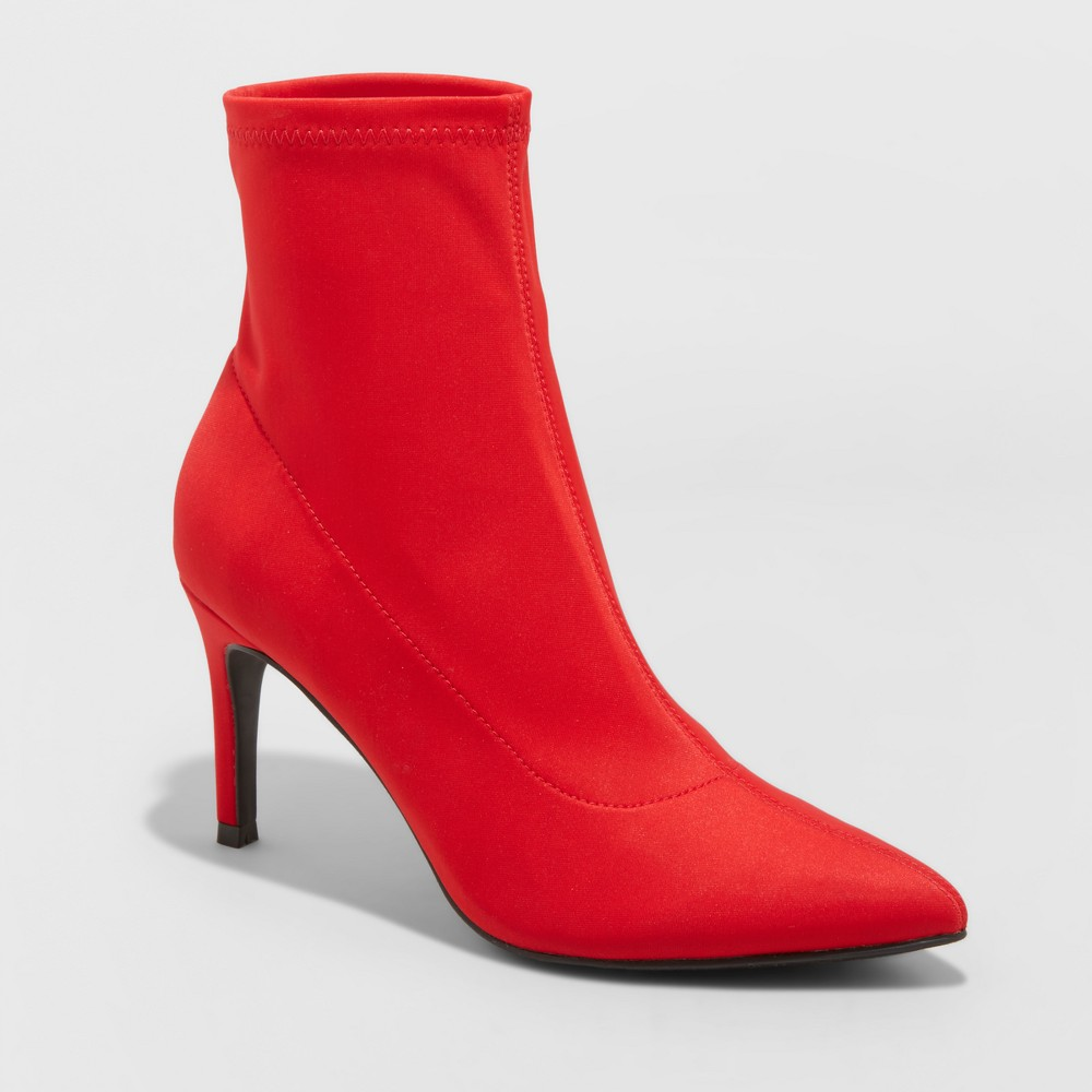 Women's Cady Stiletto Sock Booties - A New Day Red 5