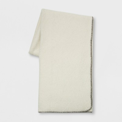 60 x50  Wool Blend With Sherpa Reverse Throw Blanket Cream - Threshold™