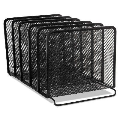 Rolodex Mesh Stacking Sorter Five Sections Metal 8 1/4 x 14 3/8 x 7 7/8 Black 22141