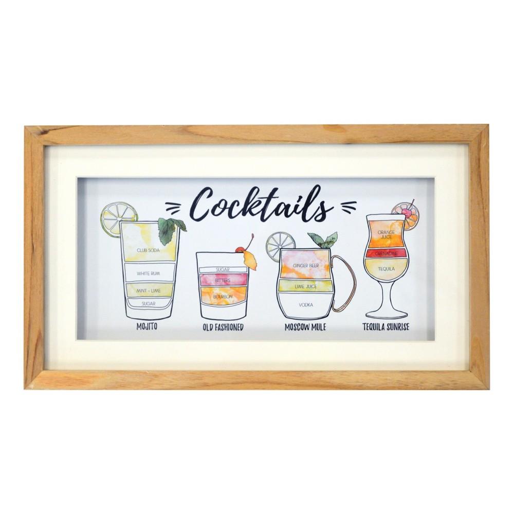 Cocktails Framed Art 8 x 14 - Threshold, Multi-Colored