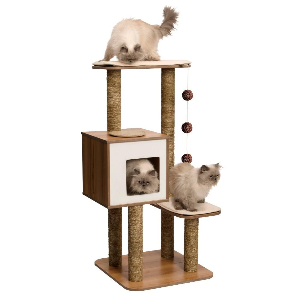 Vesper V-High Base Cat Furniture - Walnut, Multi-Colored