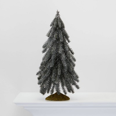 Large Glitter Tree Christmas Tree Decorative Figurine Silver   Wondershop™ by Shop Collections