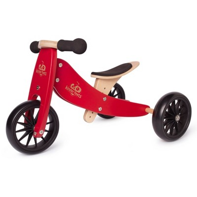 Kinderfeets Tiny Tot 2-in-1 Toddler No Pedal Starter Balance Bike Tricycle, Red